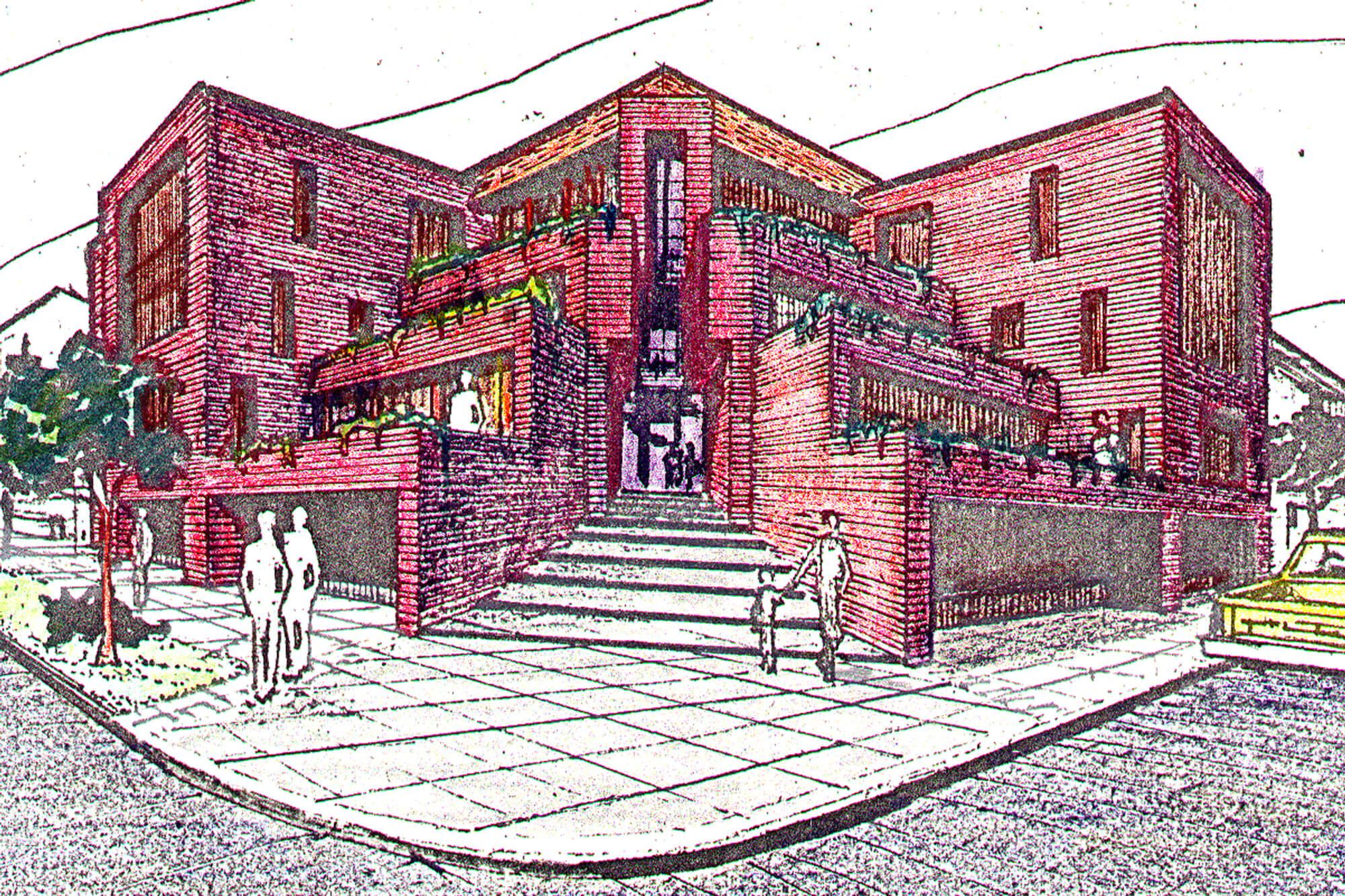 Perspectiva -Edificio viviendas aterrazadas- Necochea