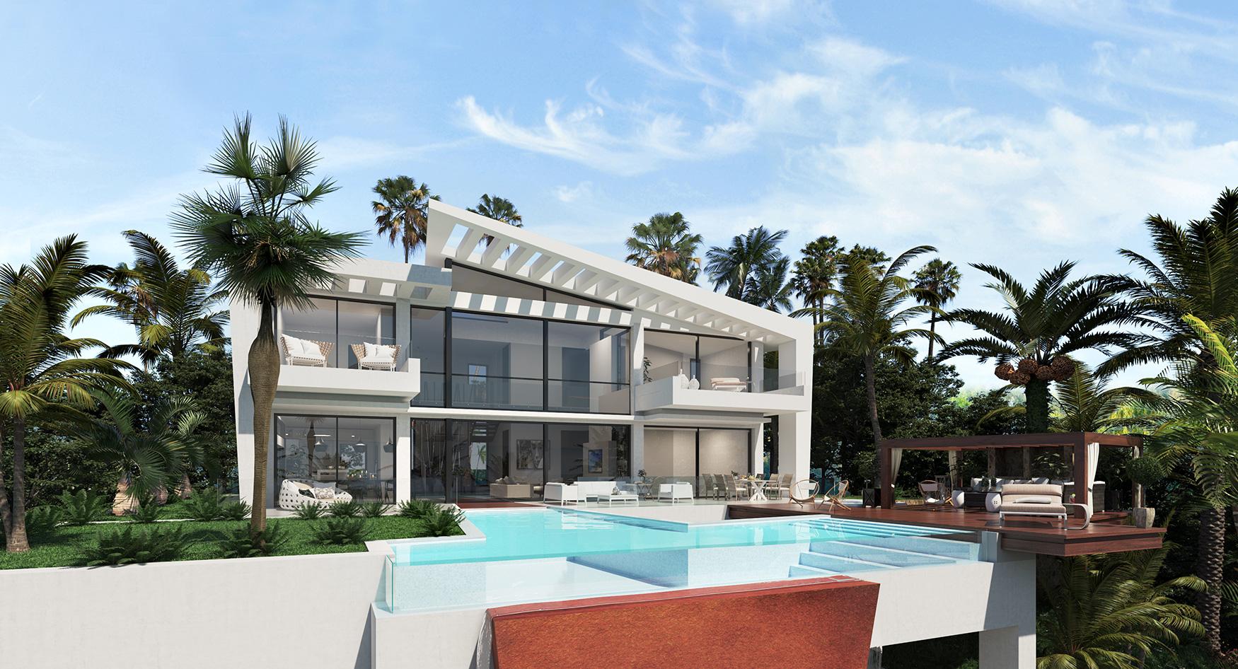 Vista de la piscina y el jardin-Infinitum Passive House- Costa del Sol