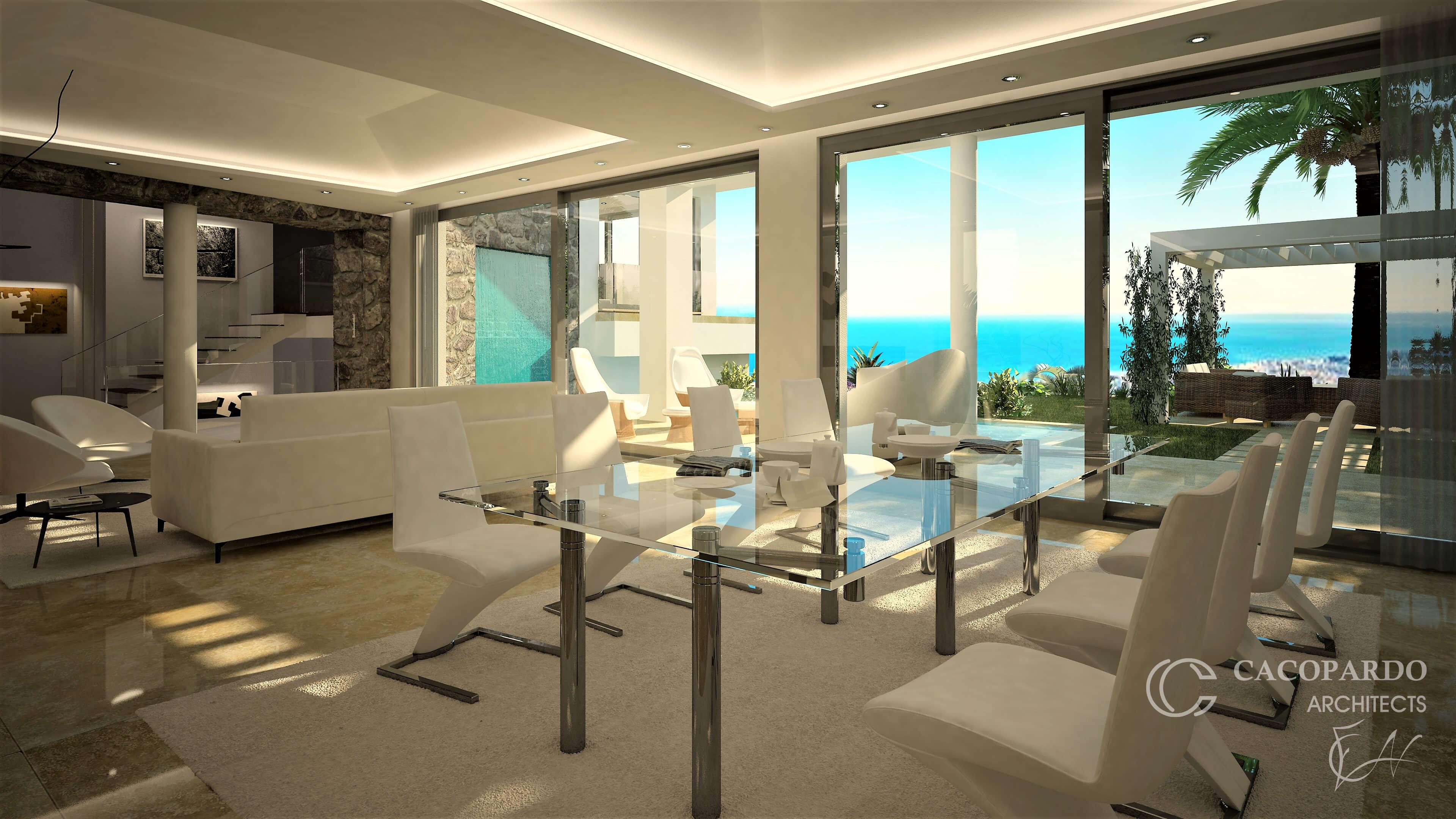 Vista del salón2-Villa 2-Urbanización Monteromero, La Cala de Mijas-Costa del Sol