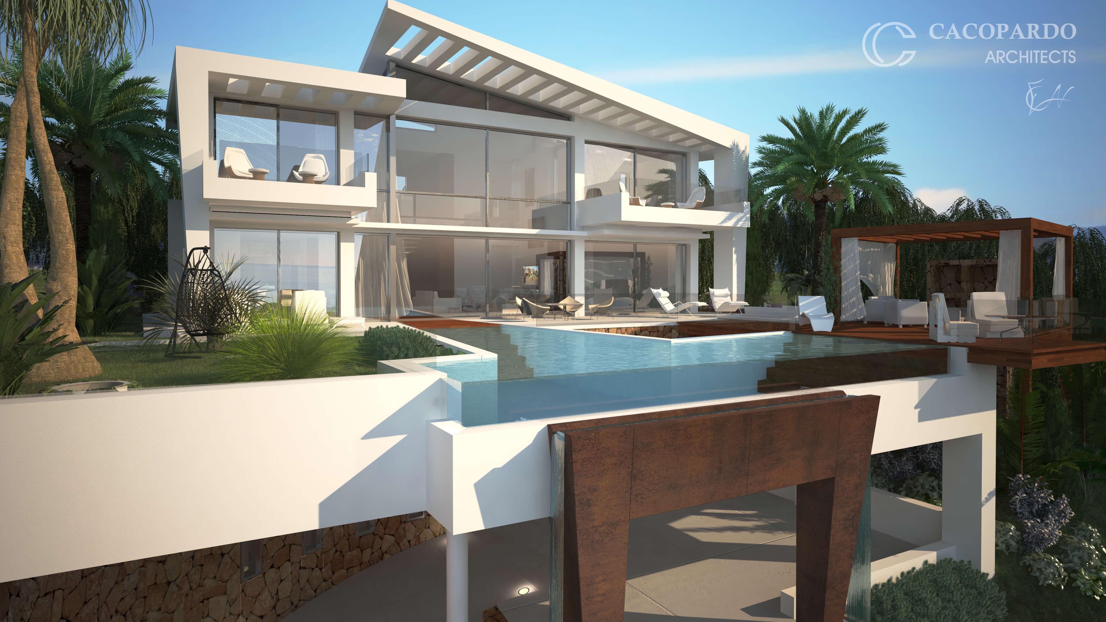 Vista de la piscina y el jardin-Infinitum House- Costa del Sol