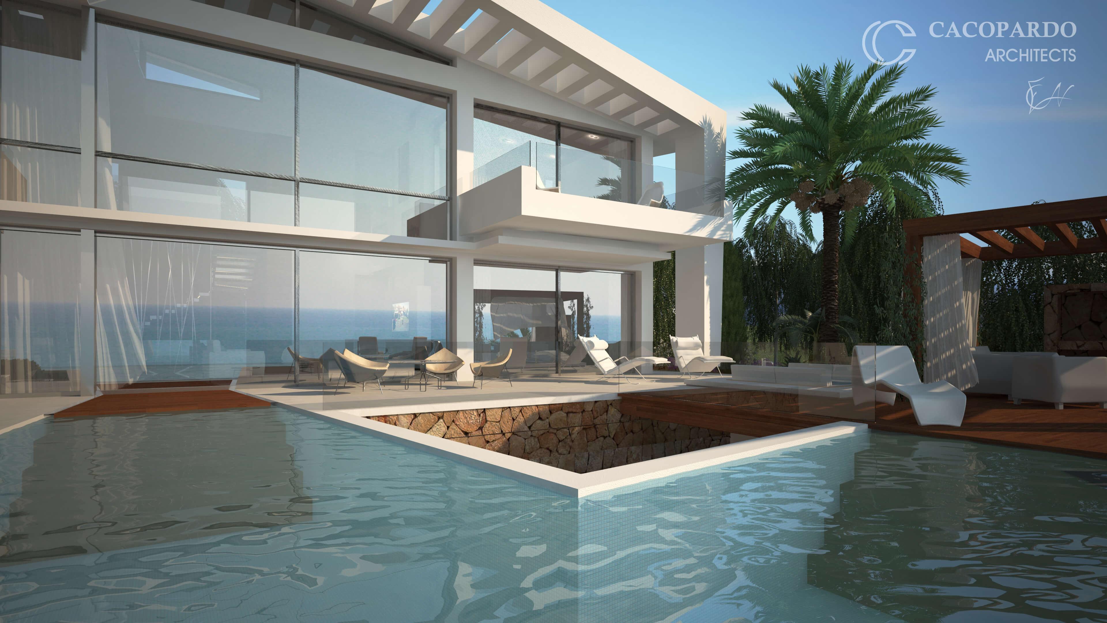 Vista de la piscina y la pérgola-Infinitum House- Costa del Sol