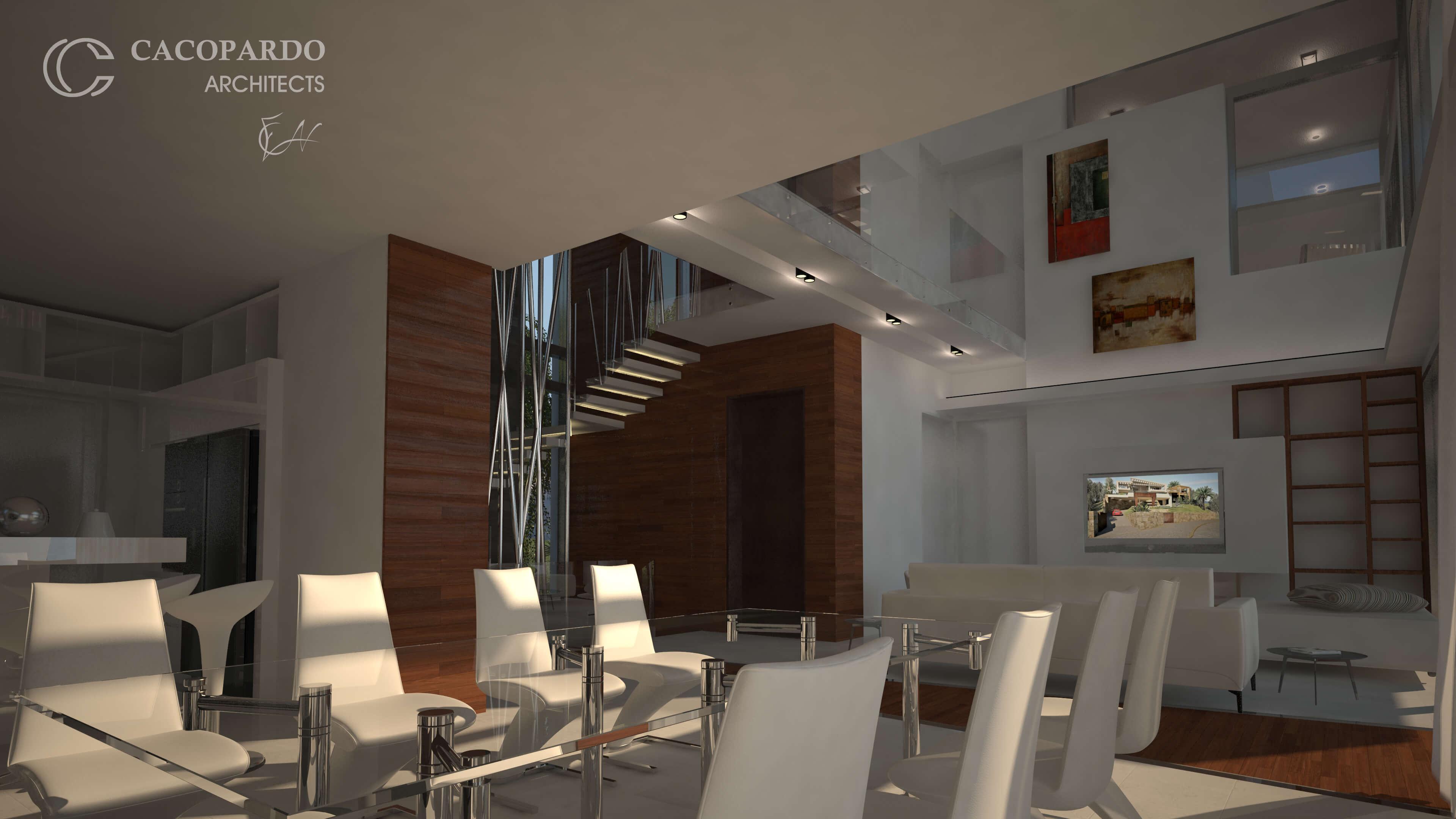 Vista del comedor y la escalera-Infinitum House- Costa del Sol