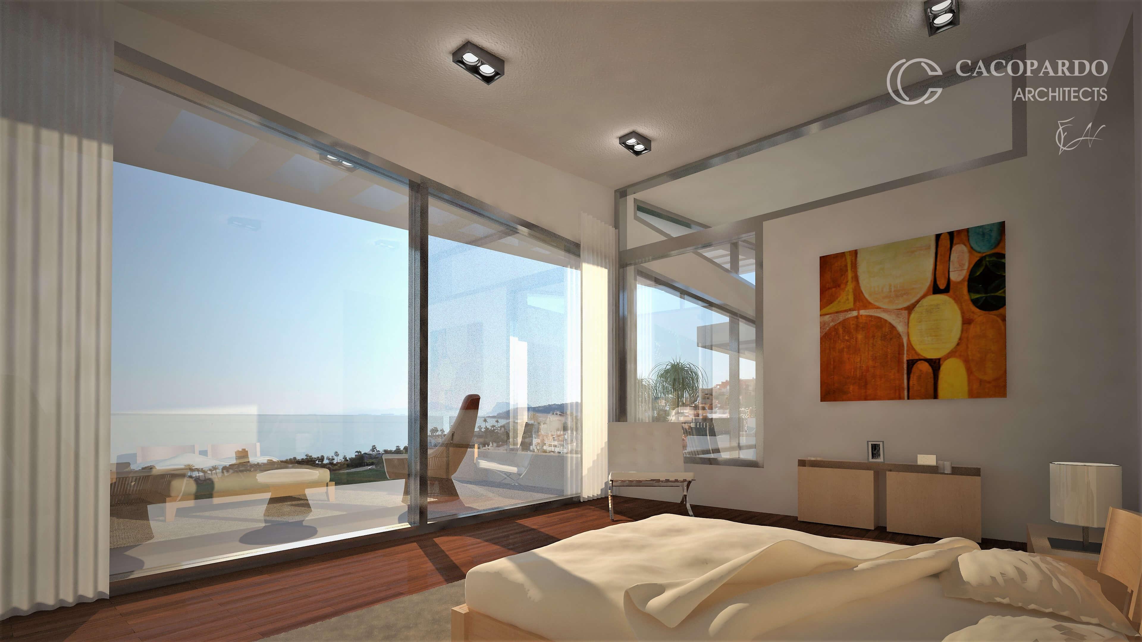 Dormitorio y terraza-Infinitum House- Costa del Sol