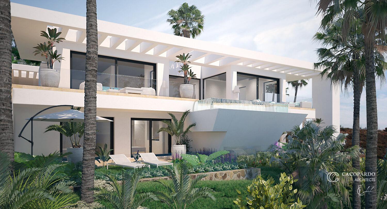 Villa 1- Vista desde el Jardín inferior, La Cala de Mijas, Costa del Sol, Málaga