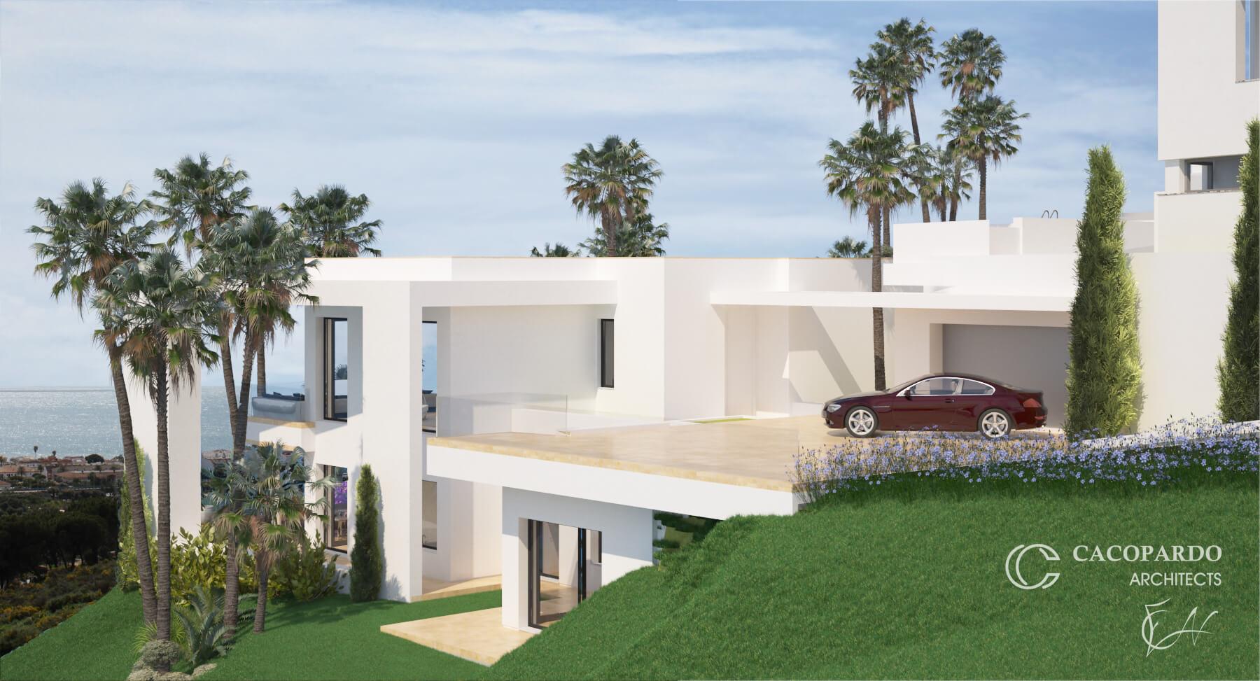 Villa 1 desde la entrada, La Cala de Mijas, Costa del Sol, Málaga