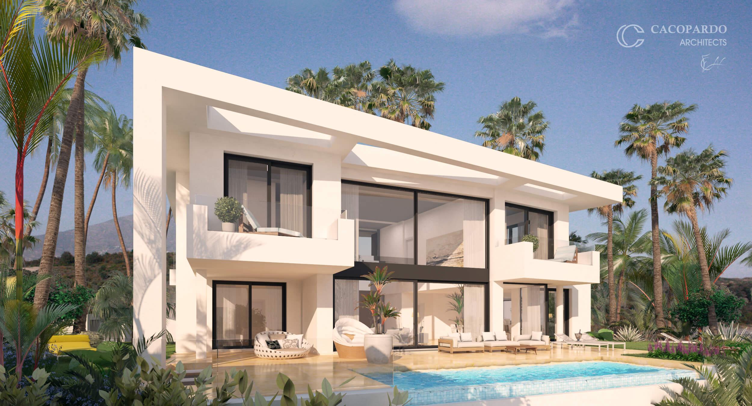 Villa 3, desde el jardin, Urbanización Monteromero, La Cala de Mijas, Costa del Sol