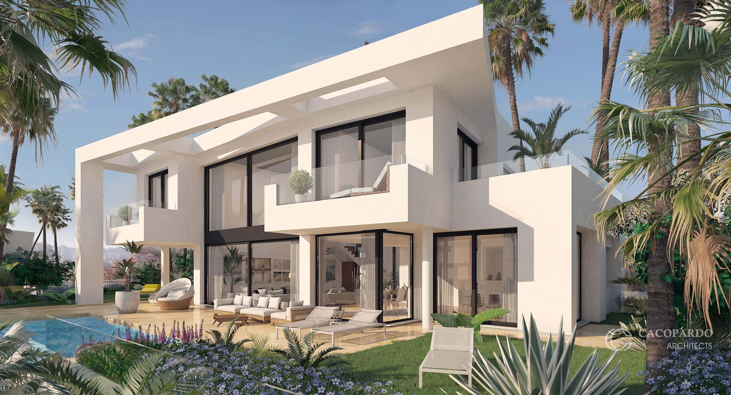 Villa 3, desde la piscina, Urbanización Monteromero, La Cala de Mijas, Costa del Sol