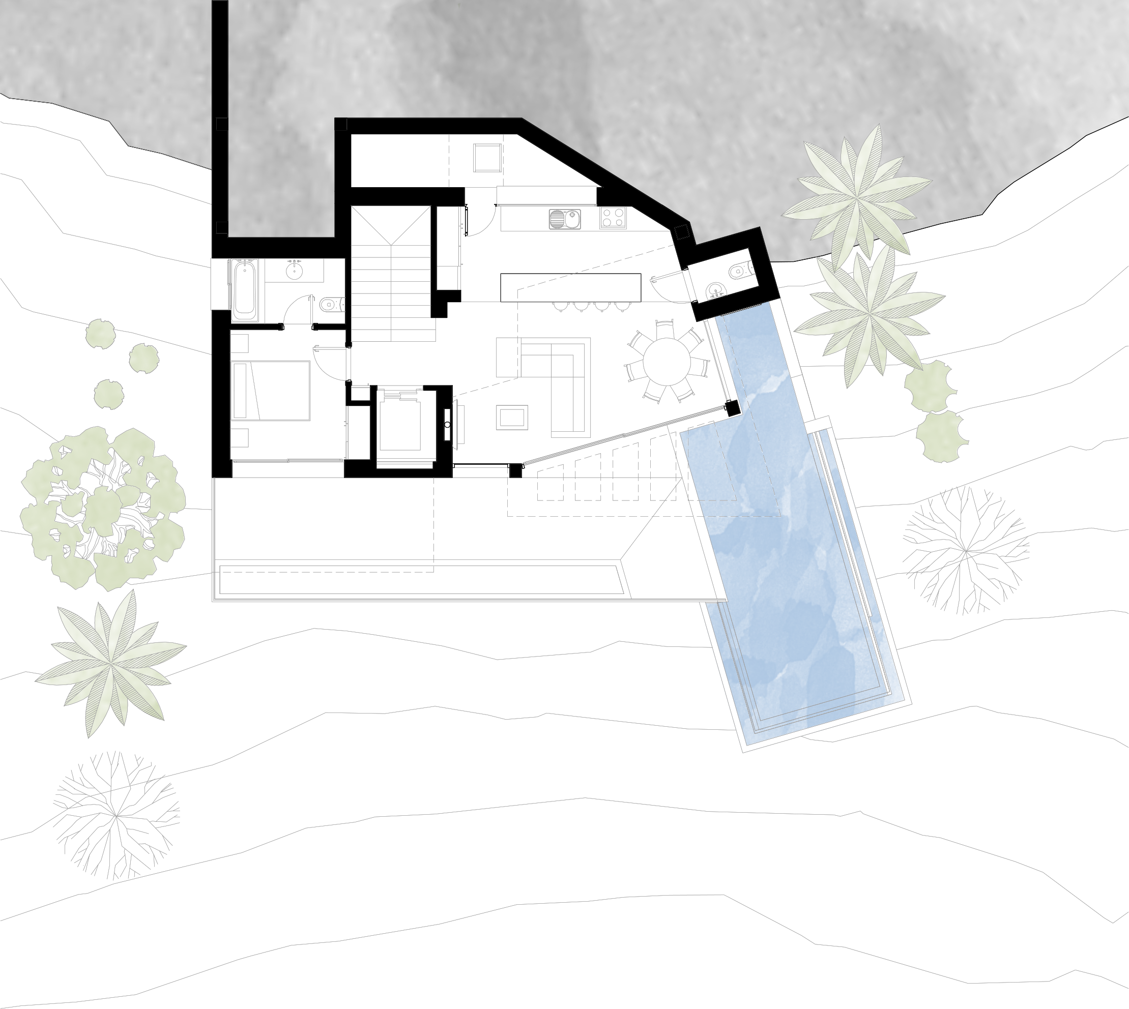 Planta salon piscina